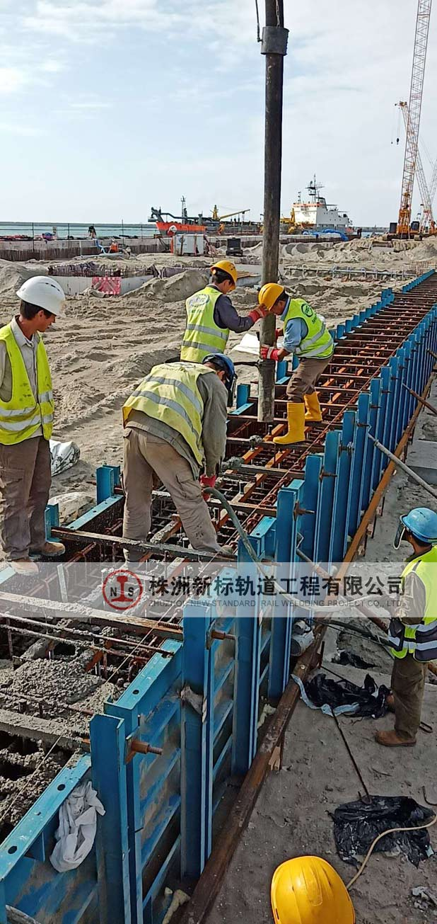 以色列阿什杜德港项目轨道梁预埋水泥浇筑